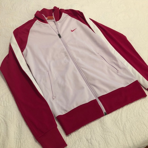 Nike Tops - Nike white and pink track jacket m